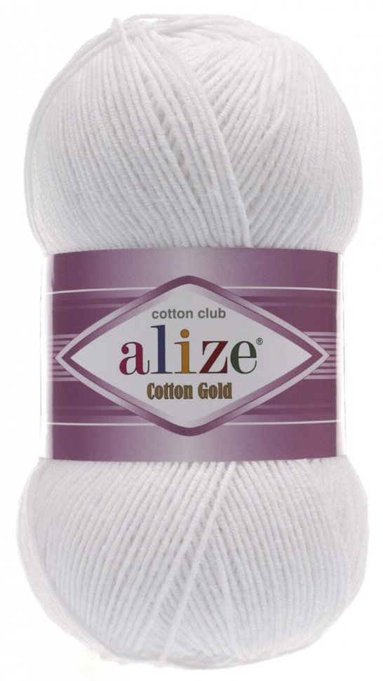 Пряжа ALIZE Cotton gold / 55 белый