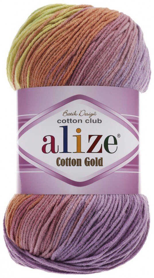 Пряжа ALIZE Cotton gold batik / 3304 светлая радуга